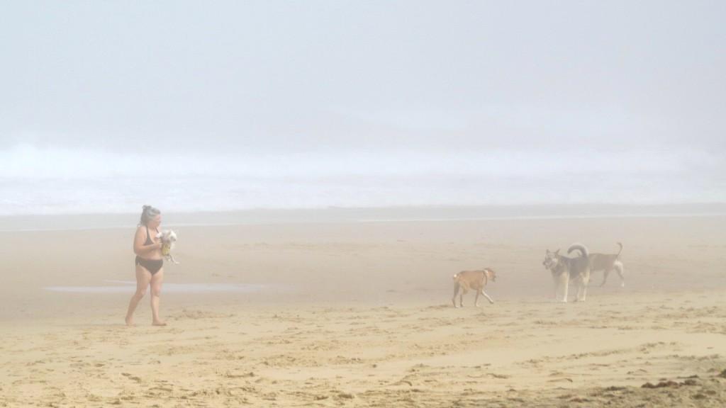 Kvinna med vovvar på disig strand