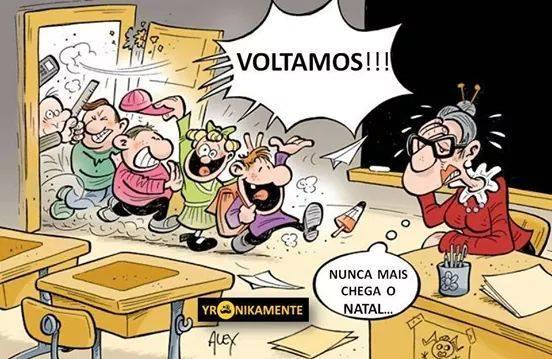 """En bild snodd från en portugisisk lärare på facebook - """"Vi är tillbaka!"""" """"Blir det aldrig jul snart?!"""""""