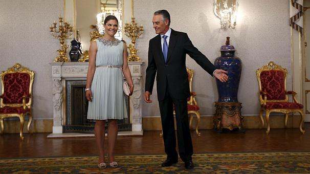 Ettan och tvåan, Prinsessan Victoria på visit i Lissabon häromveckan, med Cavaco Silva, Portugals president.