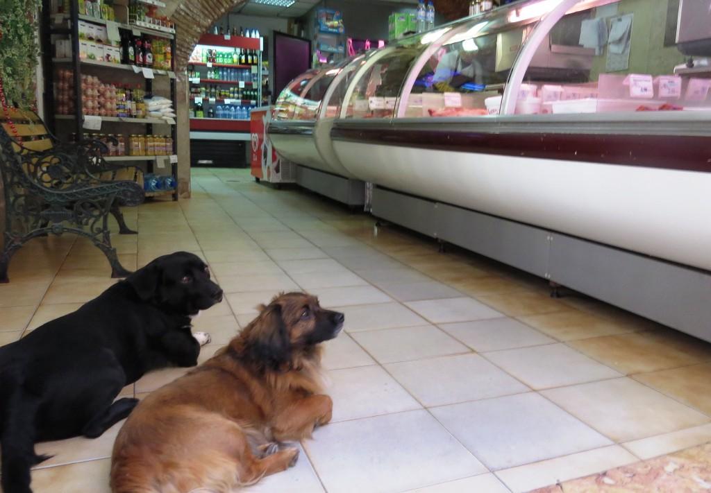 Två som parkerat vid ingången till köttaffären. (Lissabon)