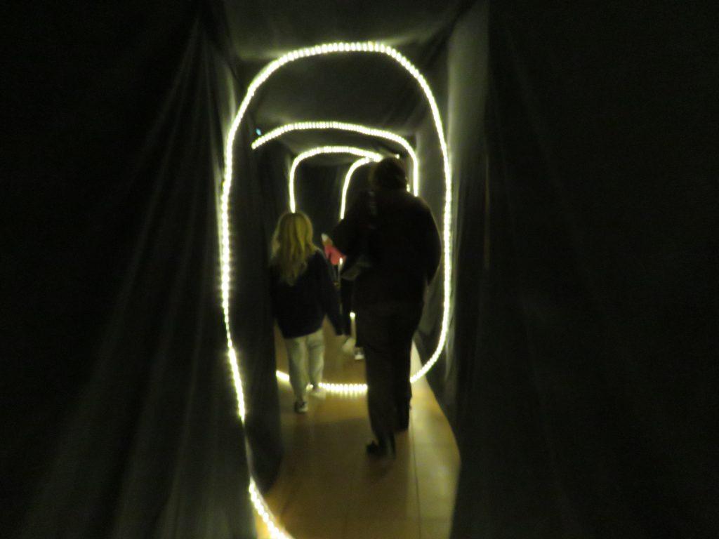 Alla fick gå igenom en specialbyggd tunnel in och ut till föreställnigen